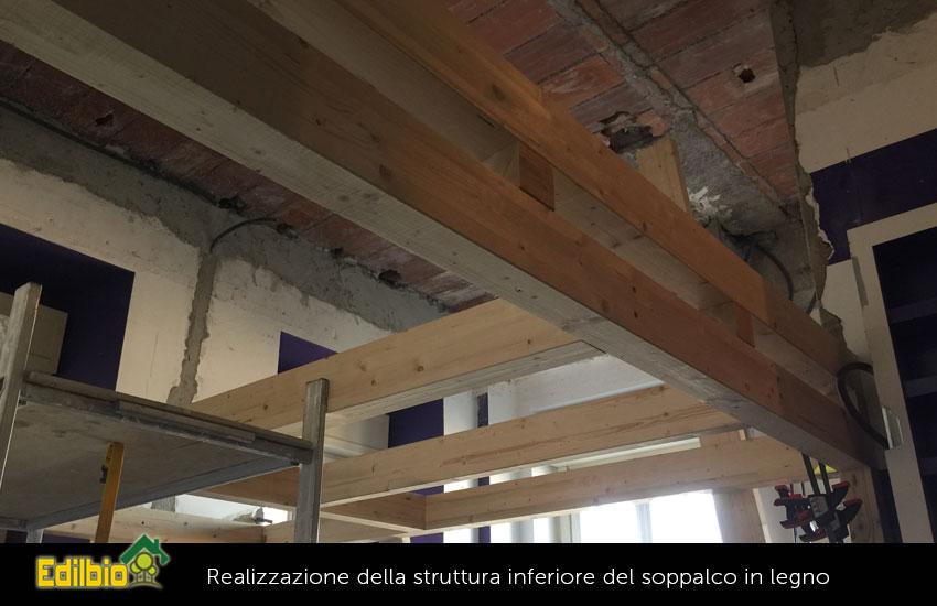 Il passo successivo è stato quello della realizzazione della struttura inferiore del soppalco in legno